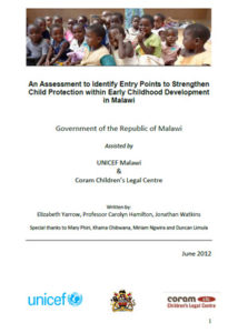 An Assessment to Identify Entry Points to Strengthen Child Protection within Early Childhood Development in Malawi