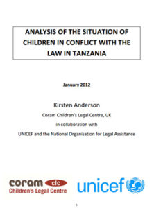 Analysis of the Situation of Children in Conflict with the Law in Tanzania