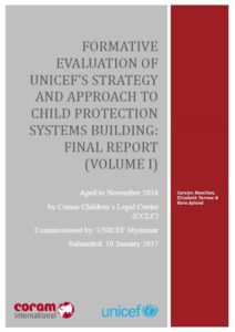 Evaluation of UNICEF's Strategy & Approach to Child Protection Systems Building