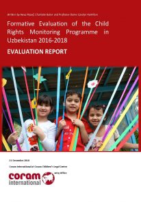 Formative Evaluation of the Child Rights Monitoring Programme in Uzbekistan 2016-2018
